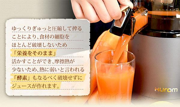 ヒューロムH2Yで作ったジュースをコップに入れている画像