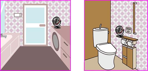 脱衣場とトイレに扇風機を置いた例