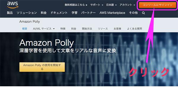 Amazon Pollyのトップページ