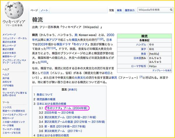 ウィキペディアでの韓流の内容