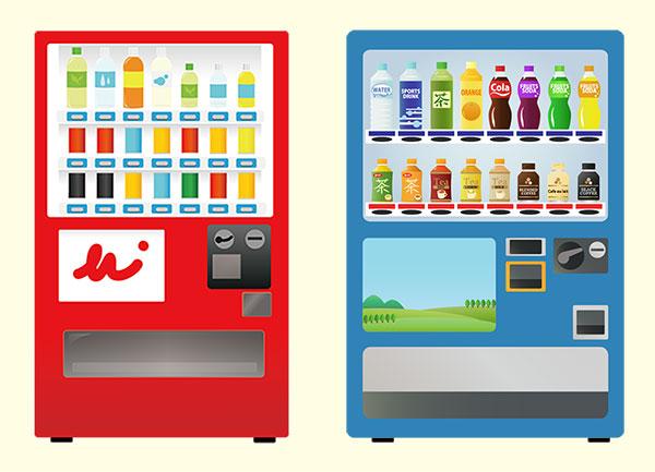 赤と青の自動販売機