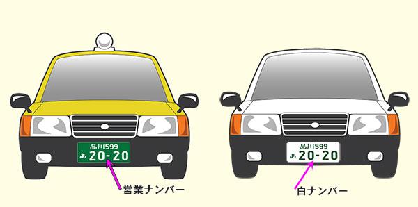 通常のタクシーと白タク