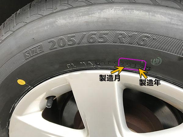 ブリヂストンタイヤの製造年月の刻印表示