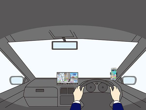 車内にスマホホルダーを設置したイメージ画像