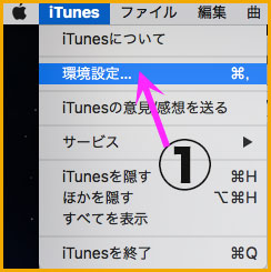 iTunesの環境設定画面
