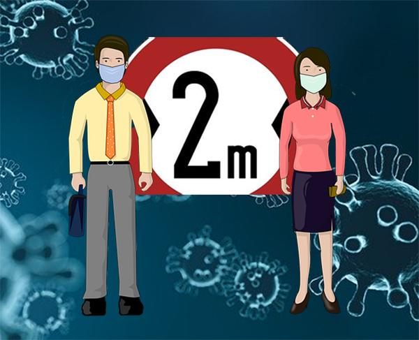 感染予防のため、マスクをして2m以上離れている男女