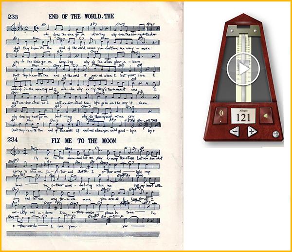 piascoreの楽譜横にメトロノームを置いたイメージ