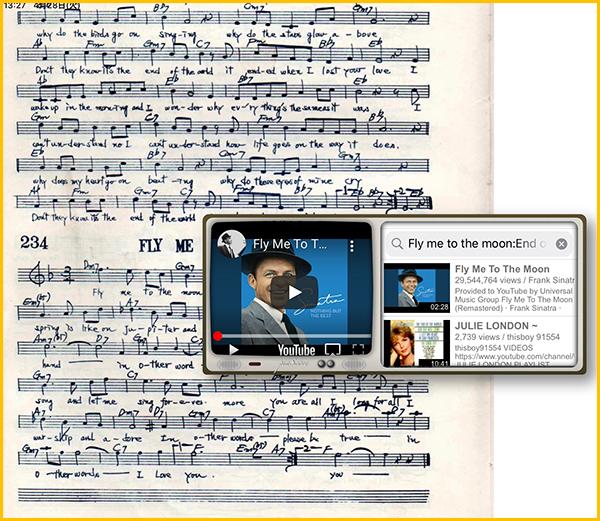 piascoreの画面上にYou Tube動画を表示させる機能