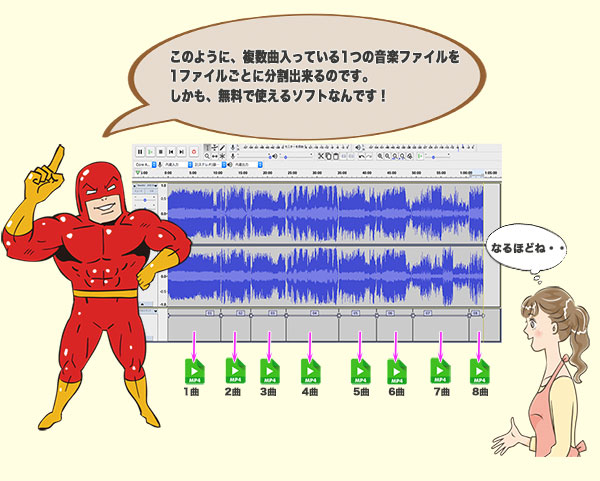 レッドマンが曲を分割するソフトaudacityをPRしている