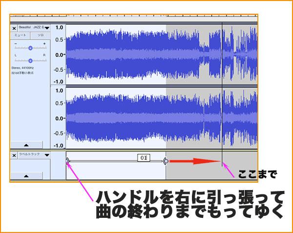 曲の範囲を決めるハンドルの操作手順