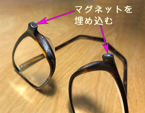マグネットを埋め込んだ眼鏡