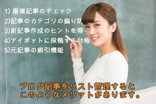 ブログ記事を管理するメリットを黒板に書いて説明する女性