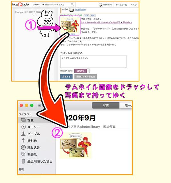 ブログサークルのサムネイル画像を利用する手順説明