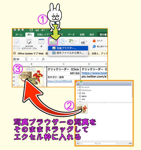 MACの写真ブラウザーからエクセルへ画像挿入する手順説明