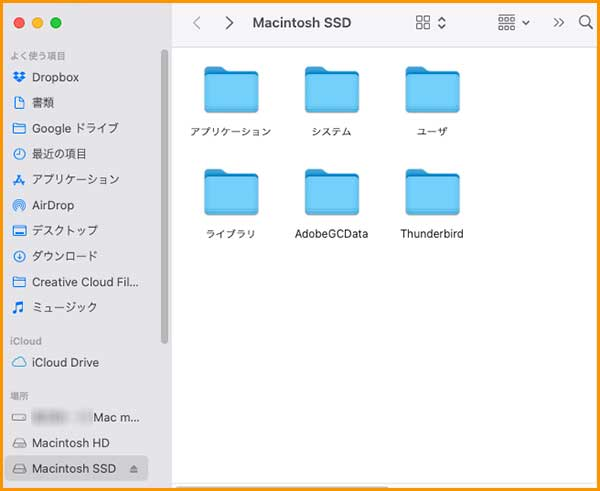 救出したSDDがマウントされた画面