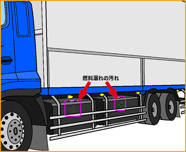 大型トラックの燃料漏れ
