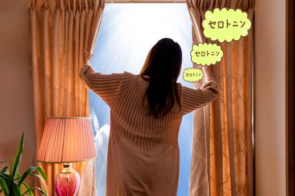 朝、窓を開けて太陽を浴びるとセロトニンが分泌され、気分が良くなる女性