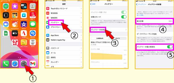 iPhoneのバッテリーの状態と最適化設定
