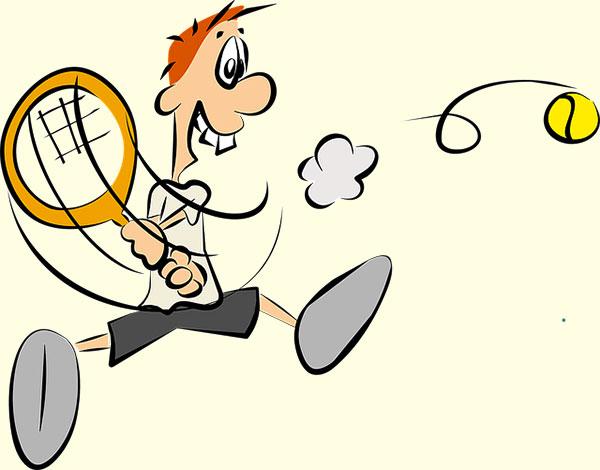テニスプレーヤーがボールをヒットする瞬間