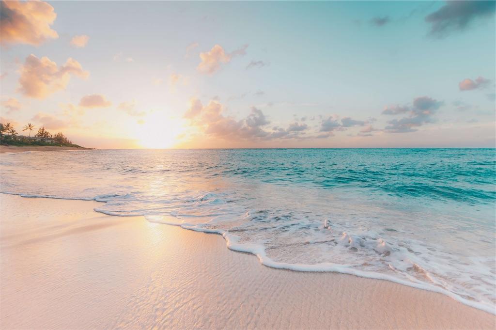 海辺の朝日の写真