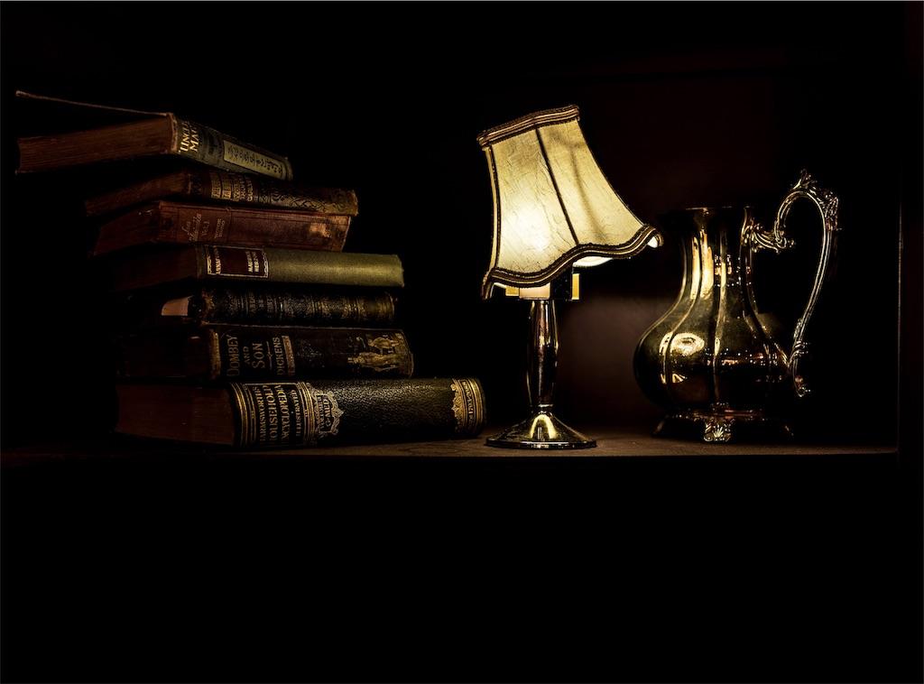 薄暗いテーブルに置かれた照明器具