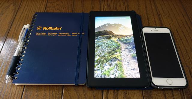 ボールペンとノートとFireタブレットとiPhone6