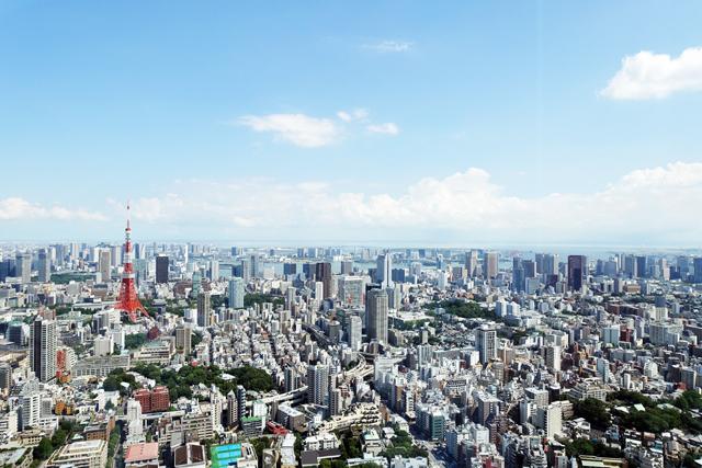 52階からの眺め。東京タワーが見える