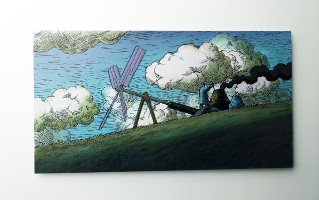 空とぶ機械達展の作品。空と風車