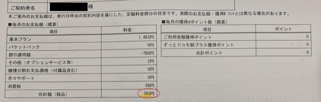 月額783円、docomo、ガラケー、タイプシンプルバリュー