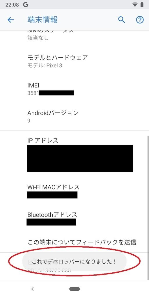 Pixel3、Android9、開発者モードON