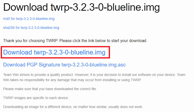 TWRP、blueline、download