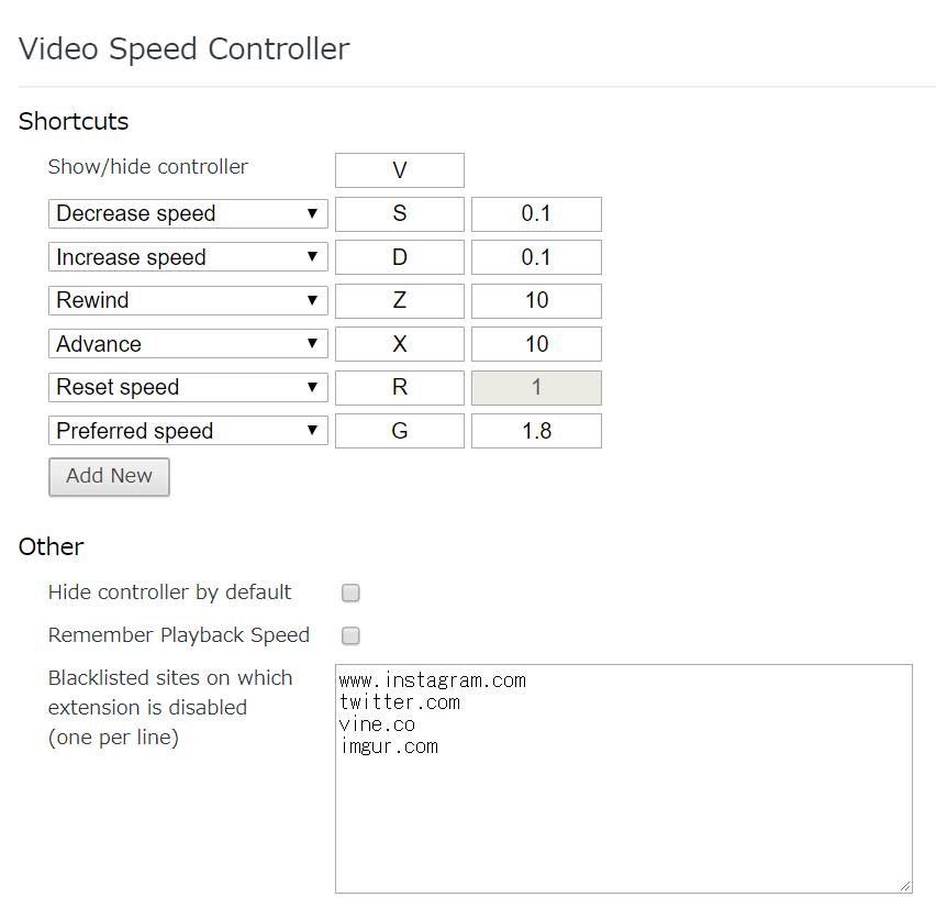 VideoSpeedController、操作方法一覧