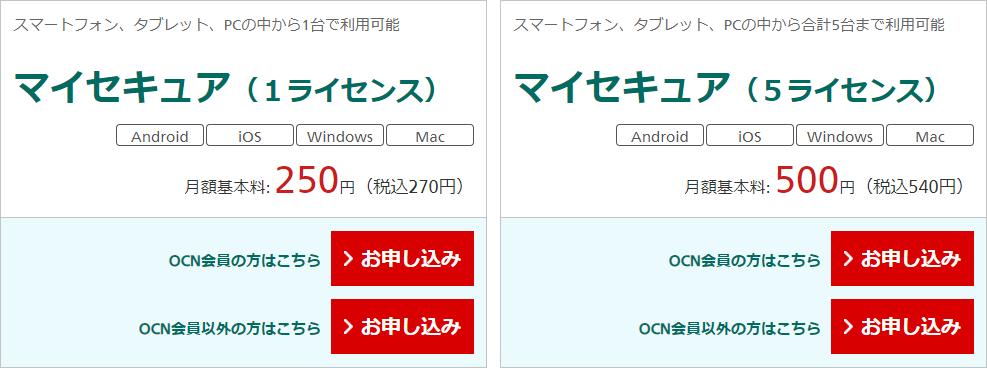 OCNモバイルONE、マイセキュア、料金、ライセンス