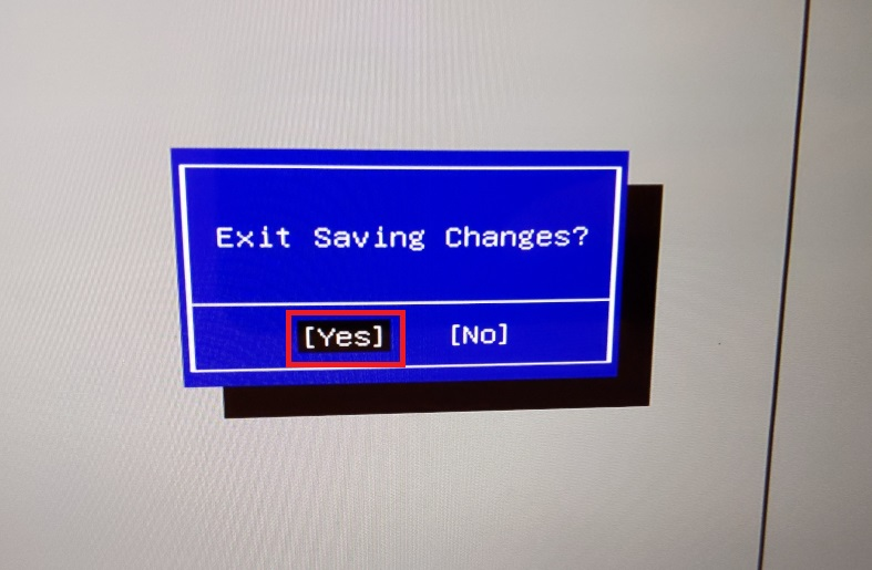 Windows10、BIOS、ExitSavingChanges、yes