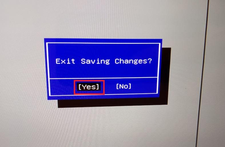 Windows10、BIOS、ExitSavingChanges、yes