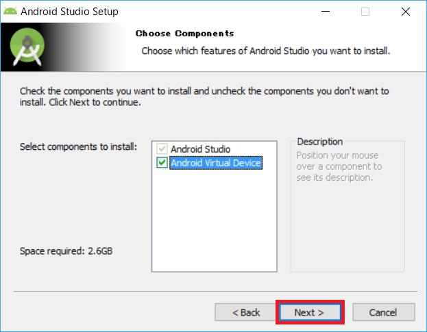 AndroidStudio、インストーラー、AVD