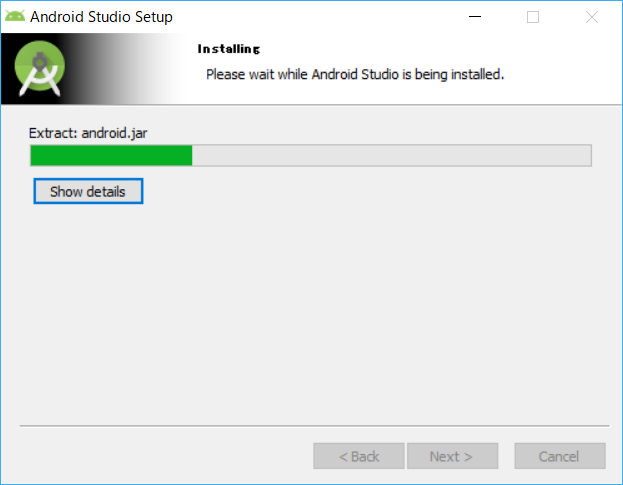 AndroidStudio、インストーラー、installing
