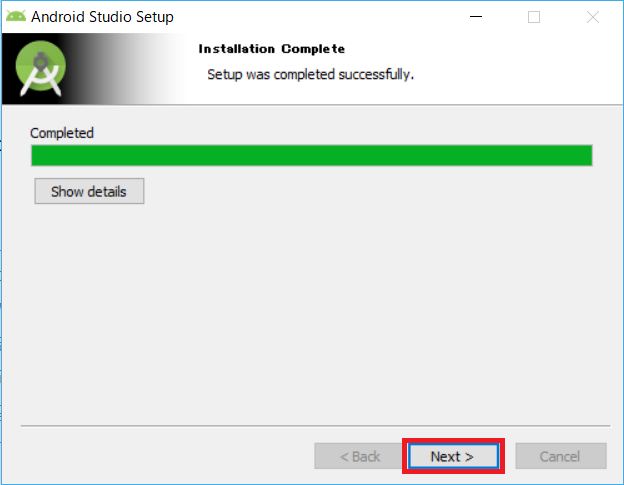 AndroidStudio、インストーラー、installed