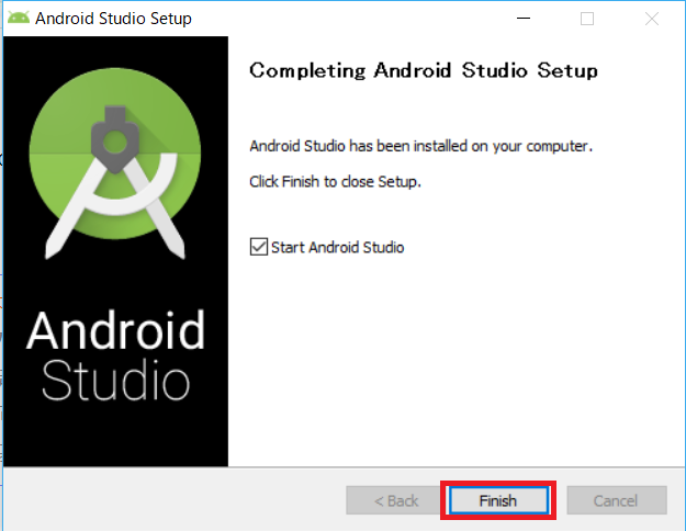 AndroidStudio、インストーラー、StartAndroidStudio