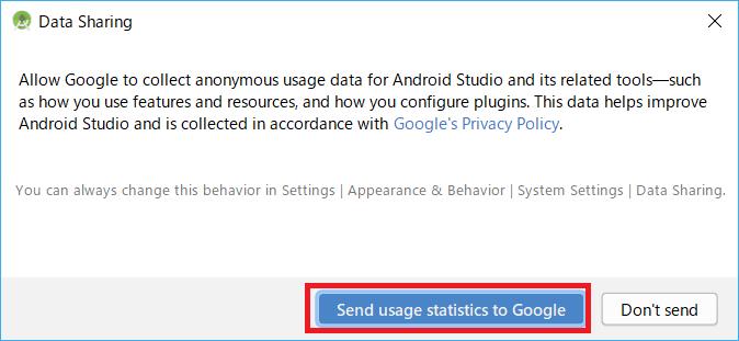 AndroidStudio、統計データ送信