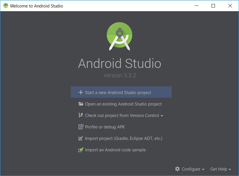 AndroidStudio、起動後