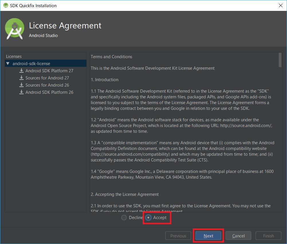 AndroidStudio、AndroidSDK、APIライセンス、同意