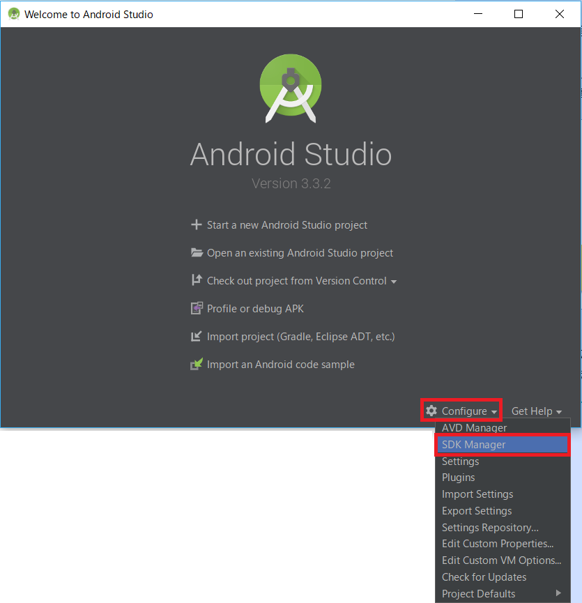 AndroidStudio、Configure、SDKmanager