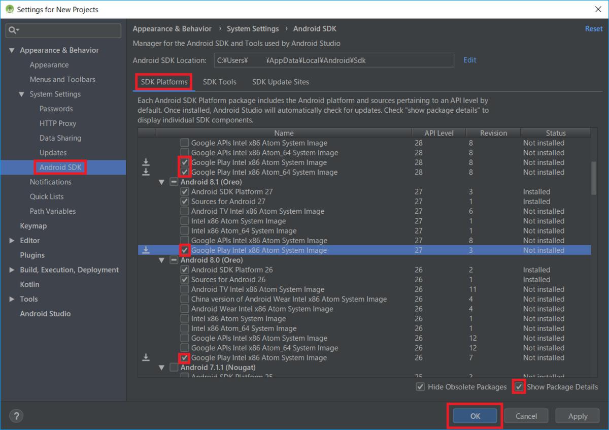 AndroidSDK、API、GooglePlaySystemImage
