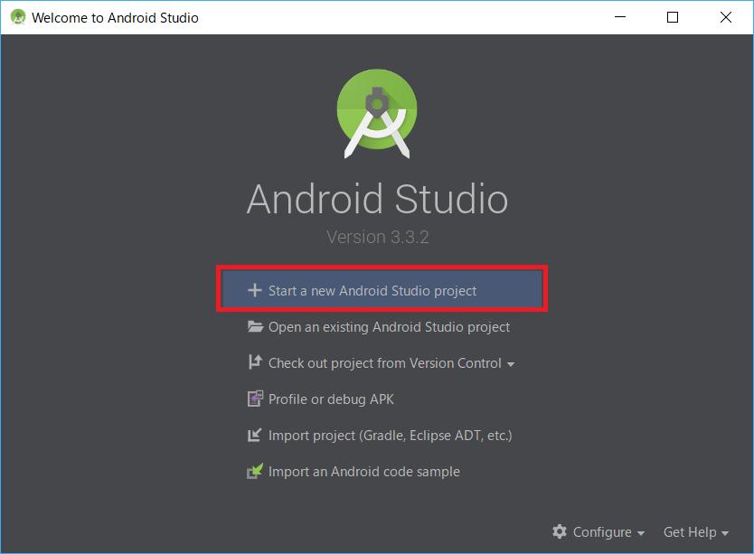 AndroidStudio、NewProfject