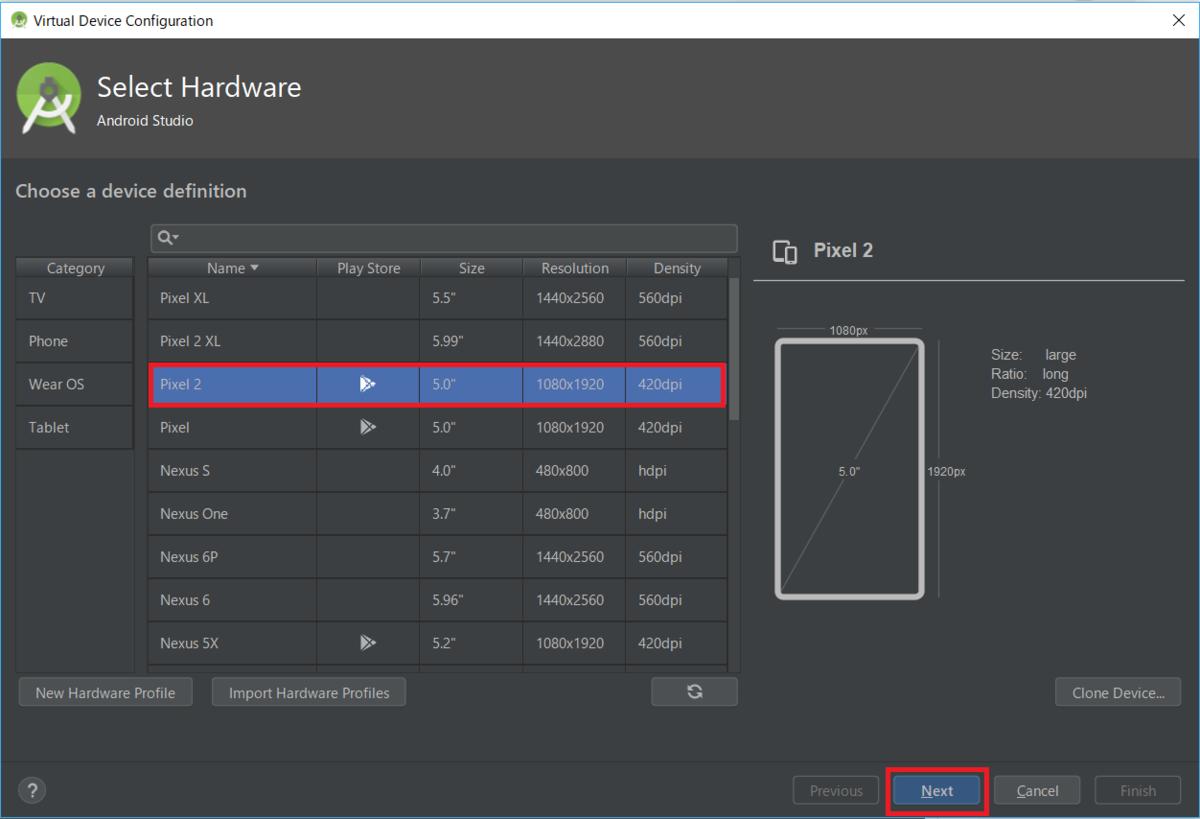 AndroidStudio、AVD、Pixel2