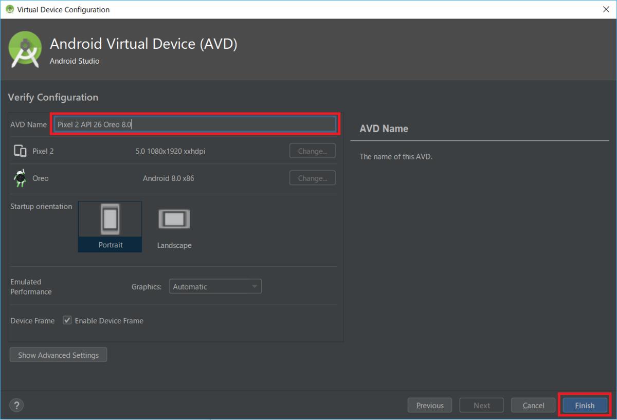 AndroidStudio、AVD、Name