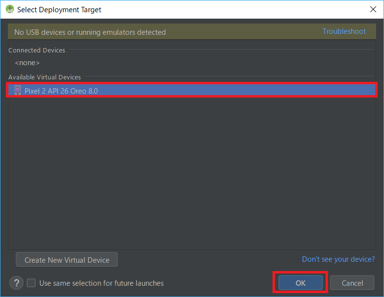 AndroidStudio、AVD、Select