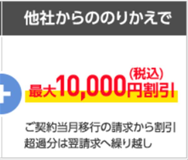 ワイモバイル、最大10000円割引、9/30迄