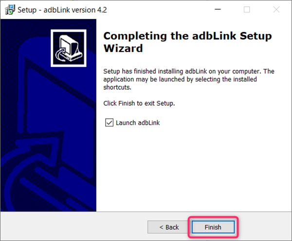 adbLink、インストール完了